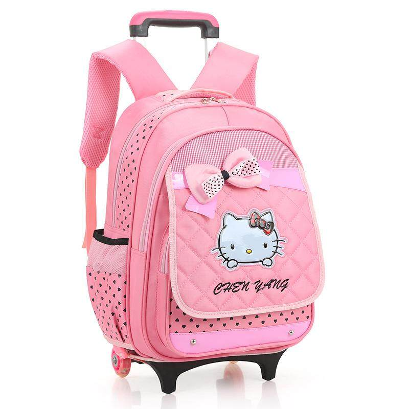 Kids Wheeled Backpacks For Girls Children School Bag On Wheels Student Trolley School Backpack Bag Luggage Rolling Bags Mochila By Lovecat.
