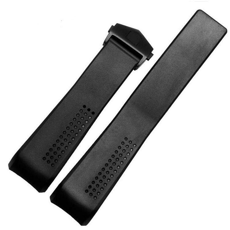 Black Silicone Watch Strap Folding Clasp For 22mm Position Watch Malaysia
