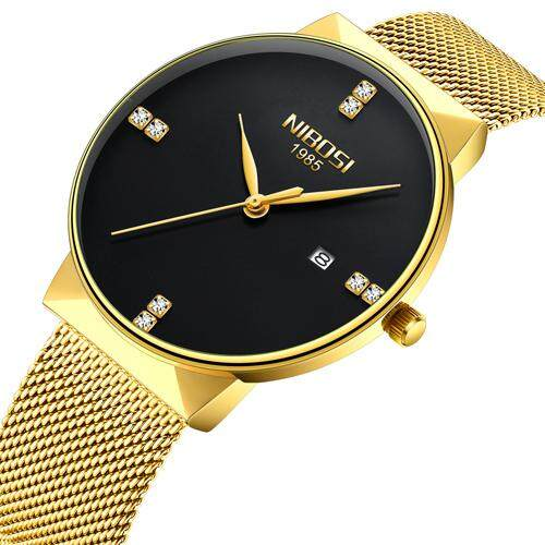 NIBOSI luxury brand mens watch top quartz watch grid alloy strap fashion watch Malaysia