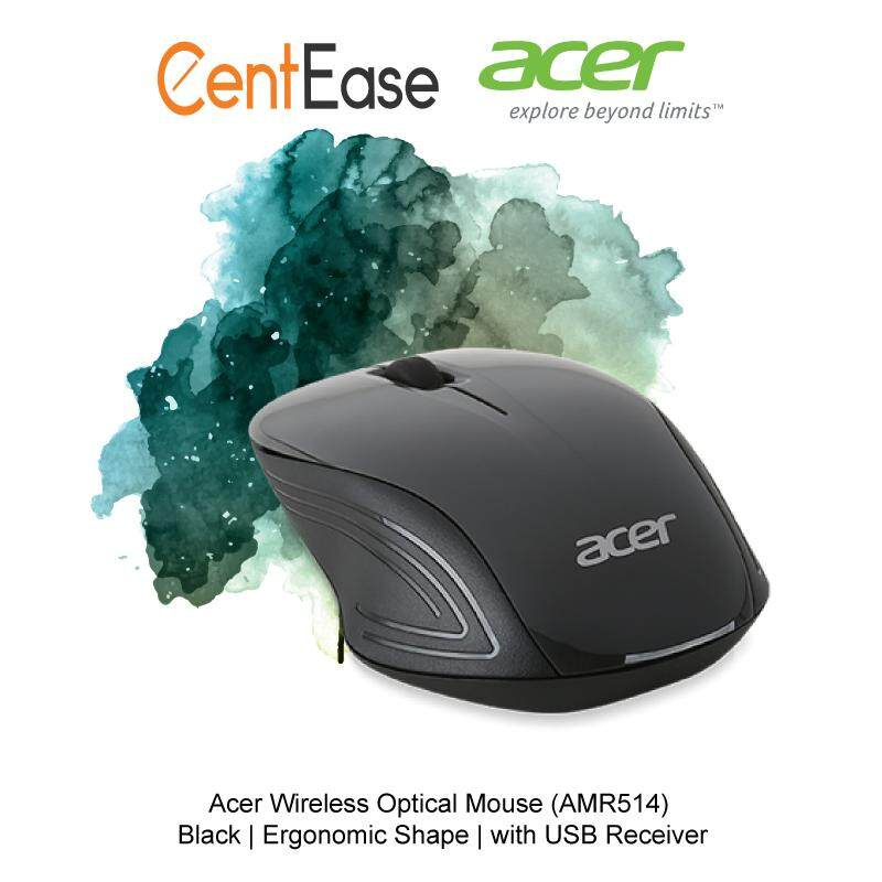 Acer Wireless Optical Mouse (AMR514) - Black | Ergonomic Shape | with USB Receiver Malaysia