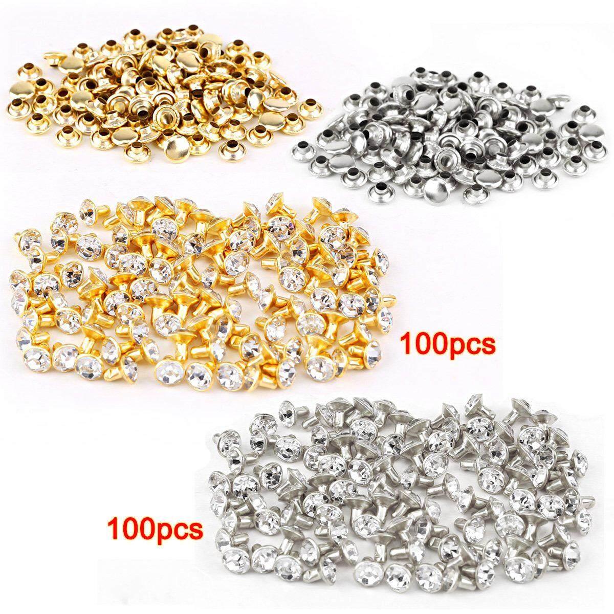 100pcs silver + 100 pcs golden Rivet with rhinestone diamond 7mm