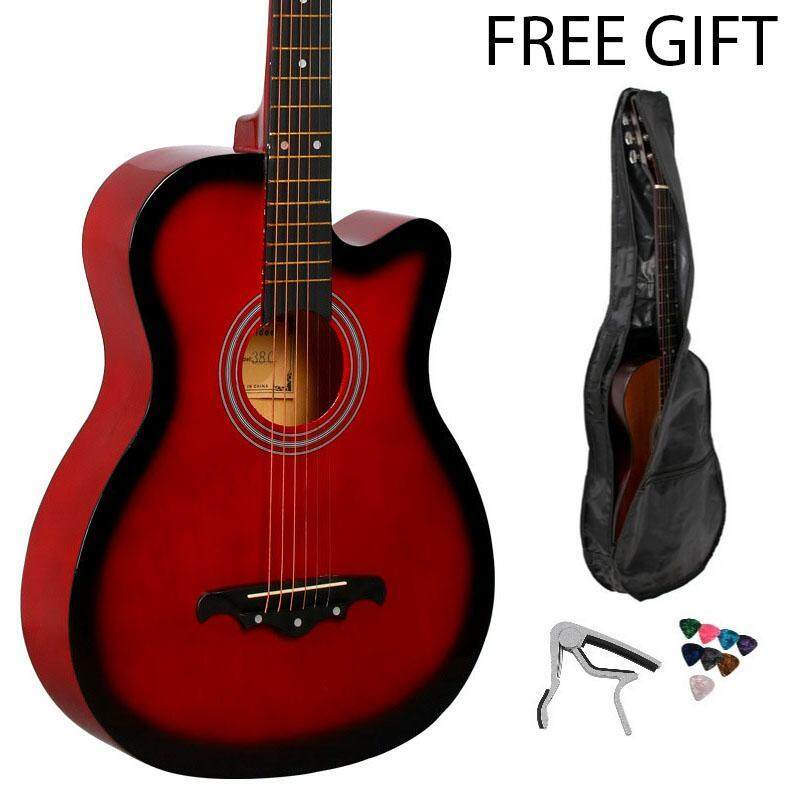 Warbase Acoustic Guitar 38 Inch With Guitar Bag, Capo Clamp and Pick - 7209 Malaysia