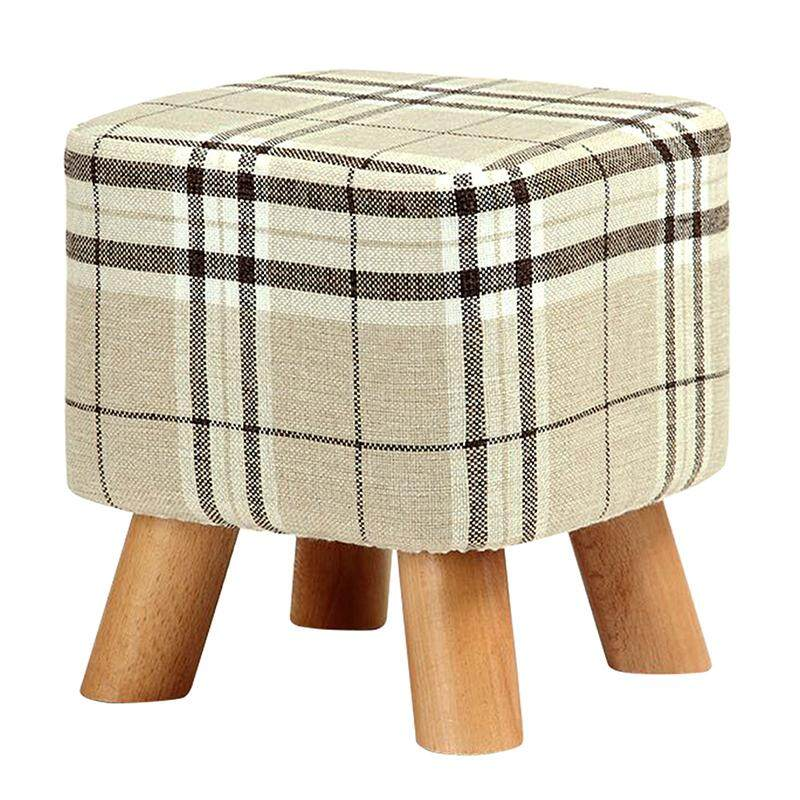 Modern Luxury Upholstered Footstool Pouffe Stool + Wooden Leg Pattern:square Fabric:big Checkered(4 Legs) By Fastour.