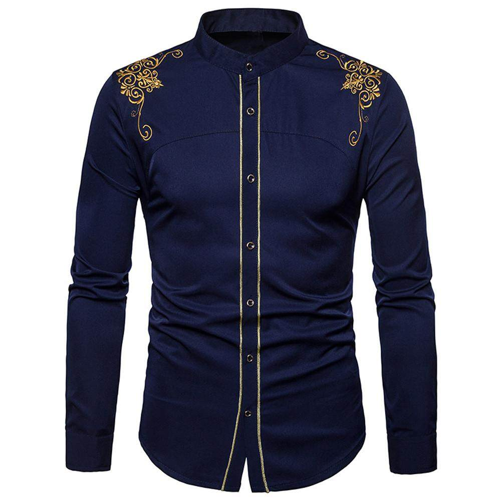 4a8c378f7ab Rainny Mens Hipster Fit Long Sleeve Button Embroidery Down Dress Shirts  Tops Blouse Shirt for men