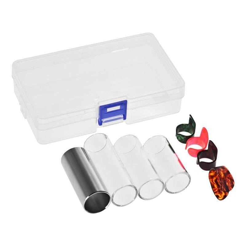 Guitar Slides Set Includes 3 Glass Slides (5.1cm/ 6cm/ 7cm) + 1 Stainless Steel Slide (6cm) + 4pcs Celluloid Thumb & Finger Picks(Random Color Delivery) with Plastic Storage Box Malaysia