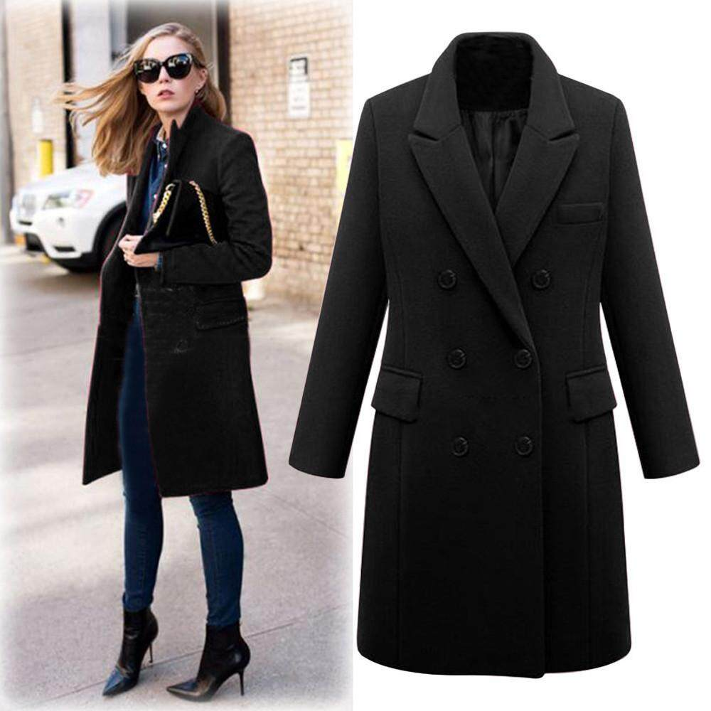 723c9f03cf7 Aiipstore Womens Winter Lapel Wool Coat Trench Jacket Long Parka Overcoat  Outwear