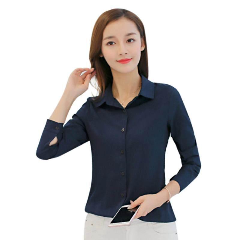 94f84606ccd5a Fashion Women s Shirt Long Sleeve Casual Chiffon Shirt Pure Color Tops  Classic Blouse Female Navy Blue