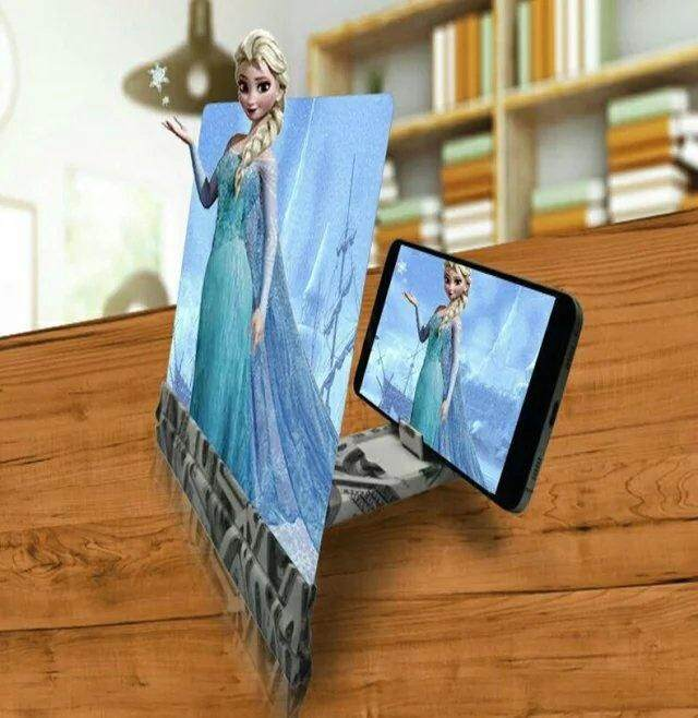 Mobile Phone Screen 3d Magnifier Folding Portable Hd Amplifier Enlarge Stand(blue) By Travel Round The World.