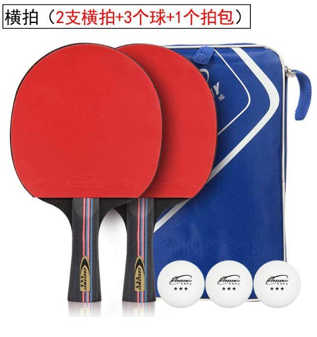 Long Handle Crossway Table Tennis Rackets Rubber Ping Pong Paddle Double Face Table Tennis Racket Set With Balls + Carry Bag [florasun] By Florasun.
