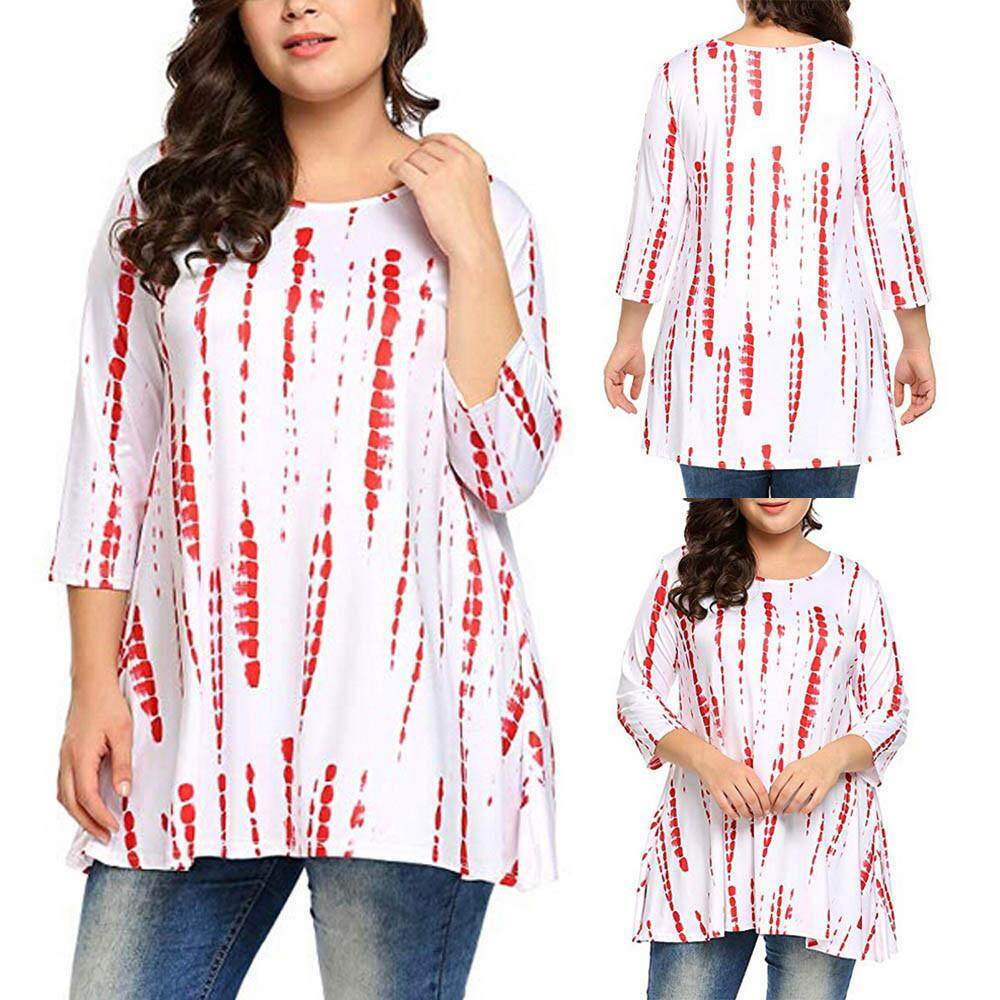 422d757d3f2 Fashion Women Plus Size 3 4 Sleeve Printed Casual Tunic Top Loose Shirts  Blouse Winleworld