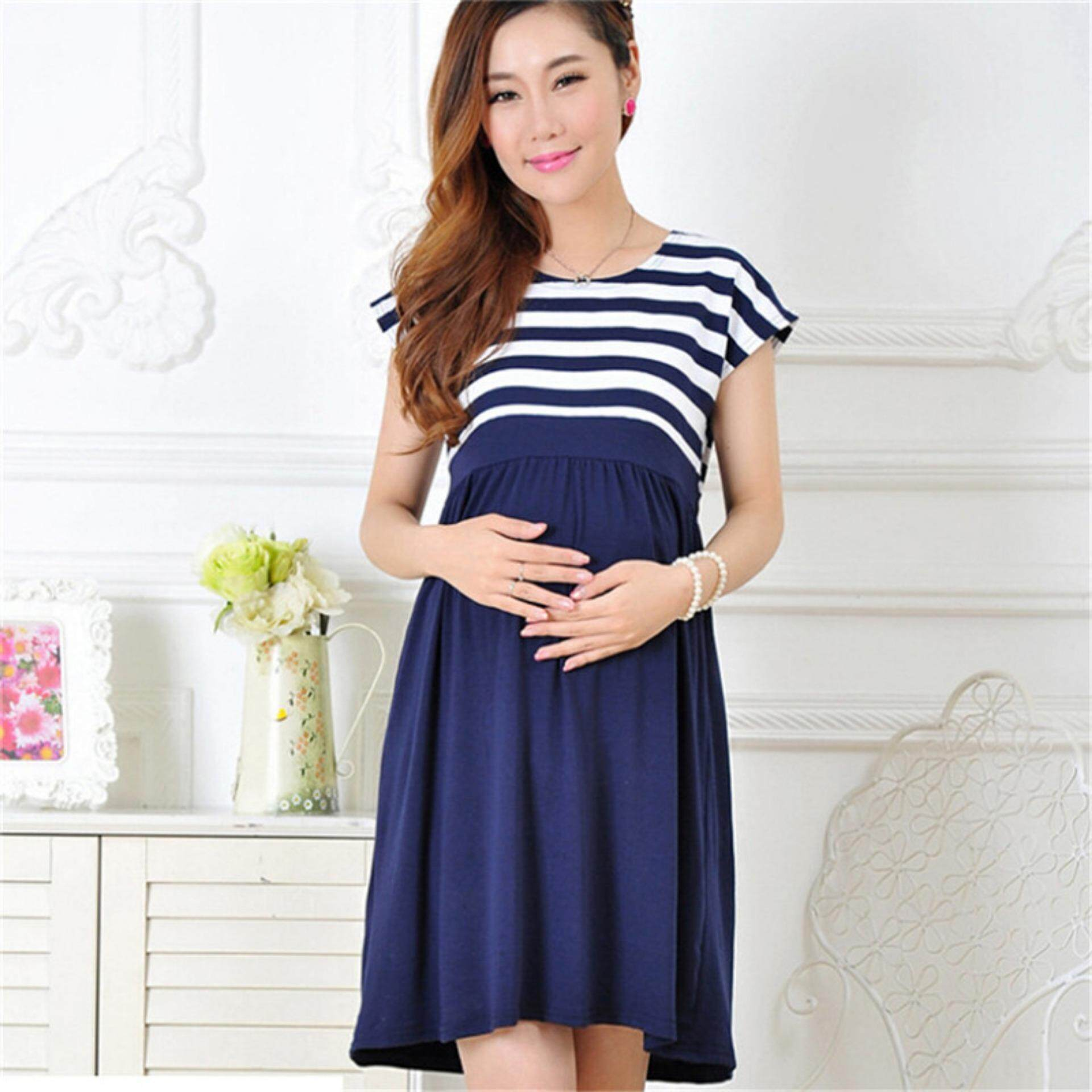 Stripe Pregnant Women Dress Short Sleeve Casual Maternity Dress Mother  Clothes Navy Blue Int XL a1635732c742