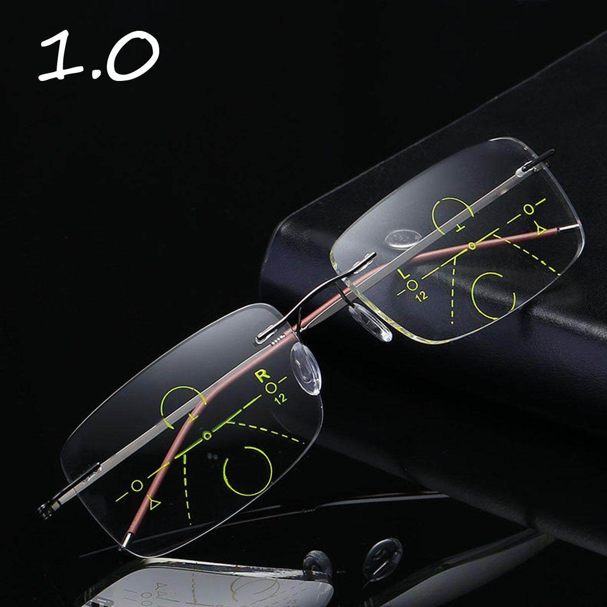 ae3013ccdf6 Rimless Progressive Multifocal Presbyopia Intelligent Reading Glasses Resin  Lens +1.0