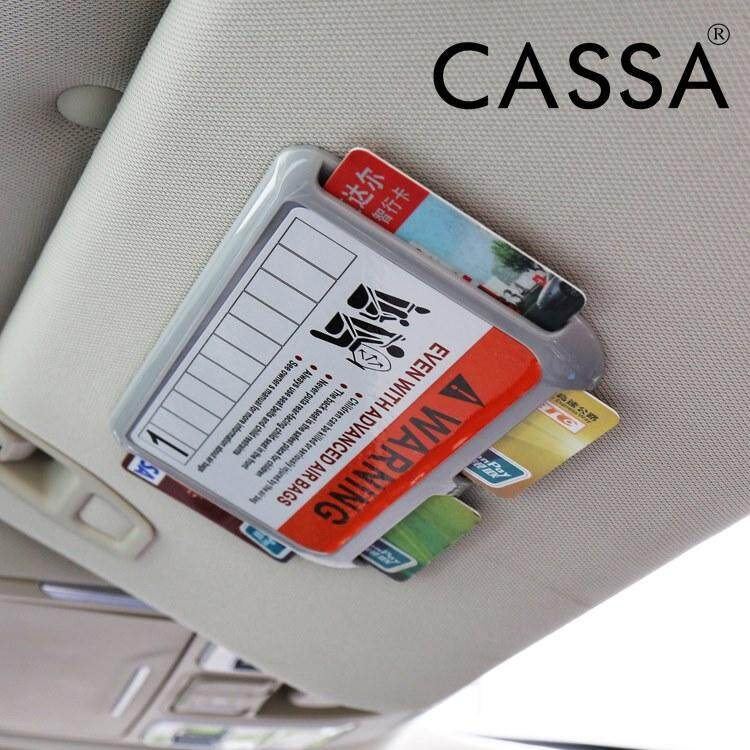 Cassa Useful Car Visor Clip Car Parking Card Holder High-speed IC Card Clip Temporary Parking Phone Number Documents Folder Black/Grey