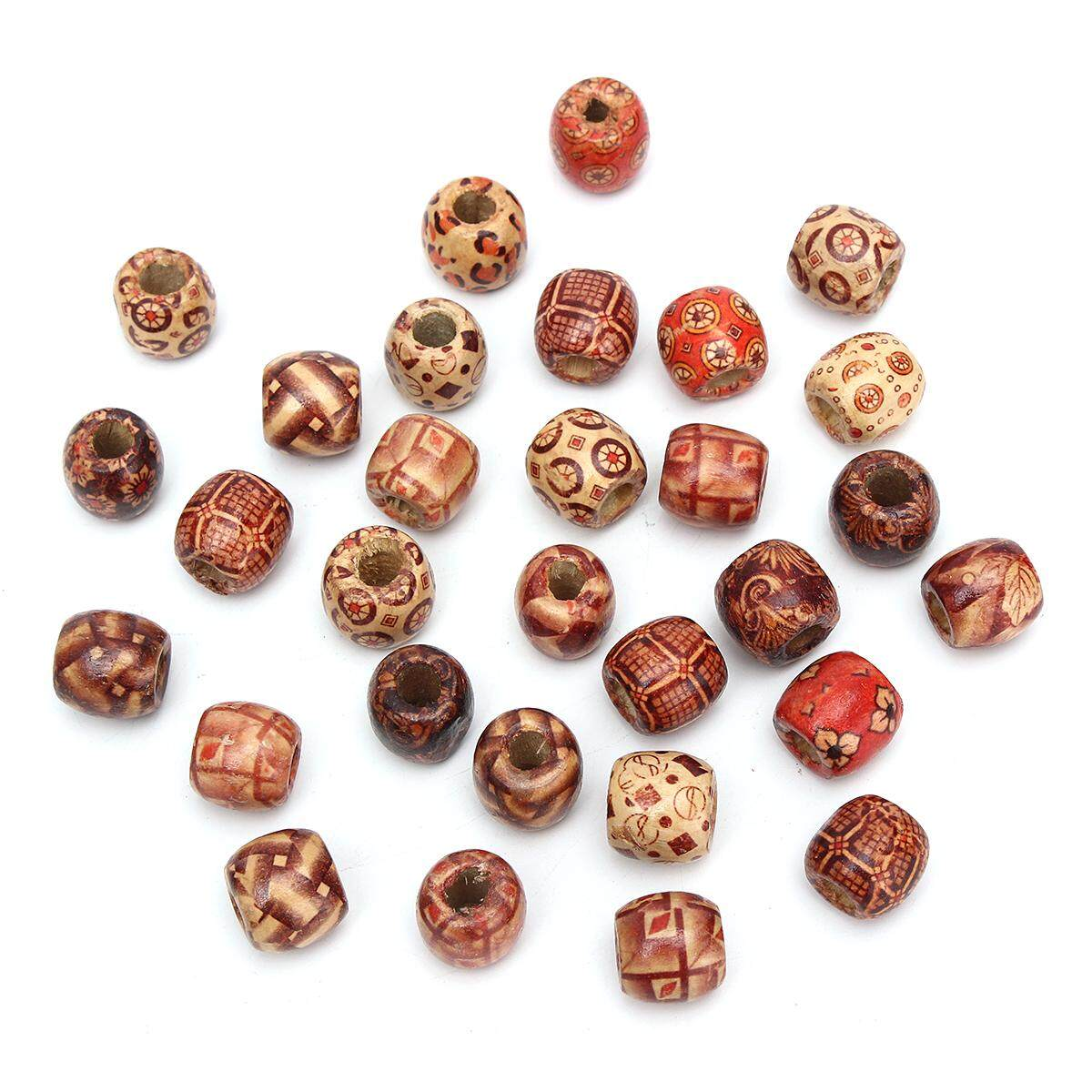 New 30pcs 16mm Wooden Exotic Dreadlock Beads Assorted/mixed Patterned Wood By Moonbeam.