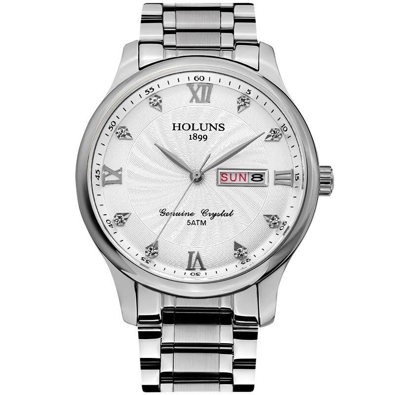 HOLUNS 4860 Business Calendar Waterproof Steel Band Men Quartz Watch with Box Malaysia