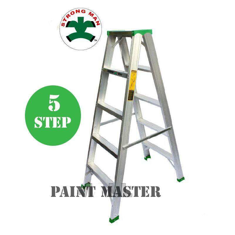STRONGMAN Aluminium Double Sided Ladder 5 Steps Tangga