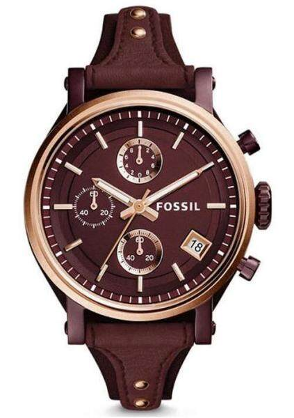 [Authentic] Fossil Womens Boyfriend Chrono Wine Dial Leather Watch For Women ES4114 Jam Tangan Wanita Malaysia