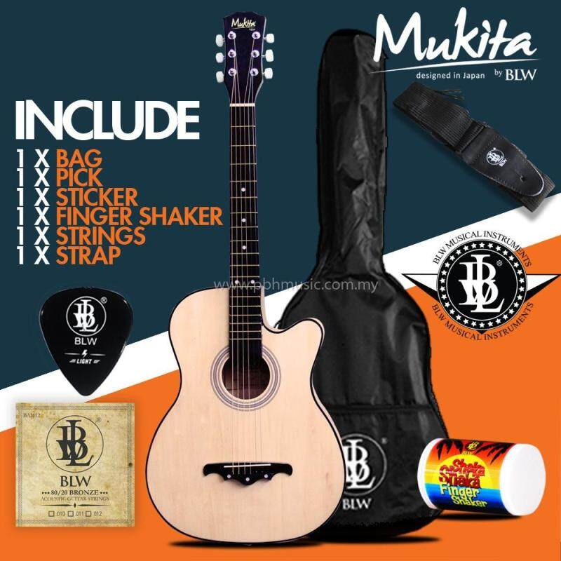 Mukita by BLW Standard Acoustic Folk Cutaway Basic Guitar Package 38 Inch for beginners with Bag, Pick, Finger Shaker and Merchandise Sticker (Natural) Malaysia