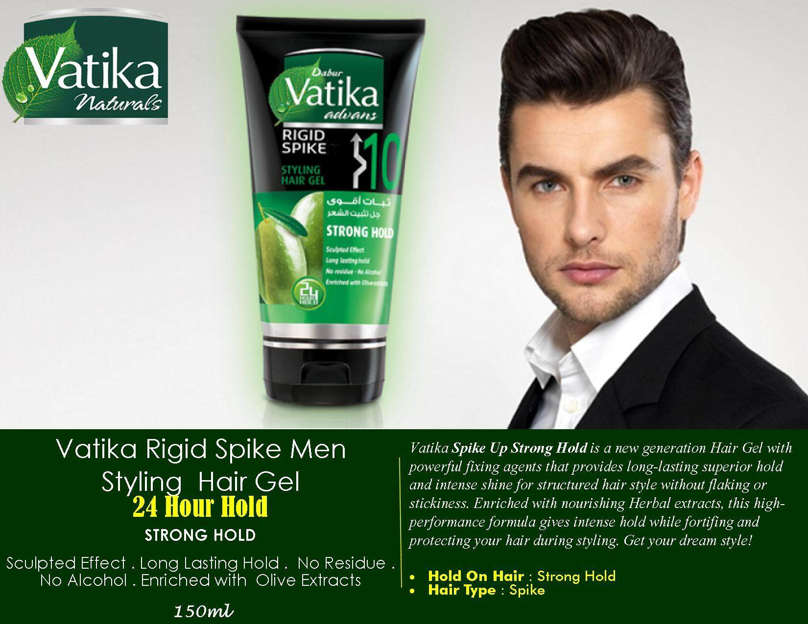 Vatika Rigid Spike Men Styling Hair Gel 24 Hour Hold Strong Hold 150ml By Raison- Raihan Maju Empire.