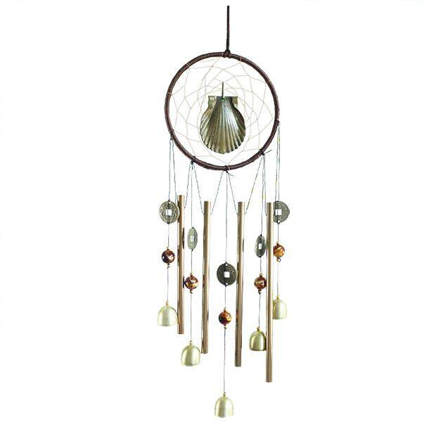 1 Bronze Metal Home Decoration Round Scallop Metal Tube Bell Wind Chimes Gift Pendant Length: 60cm By Shakeshake.