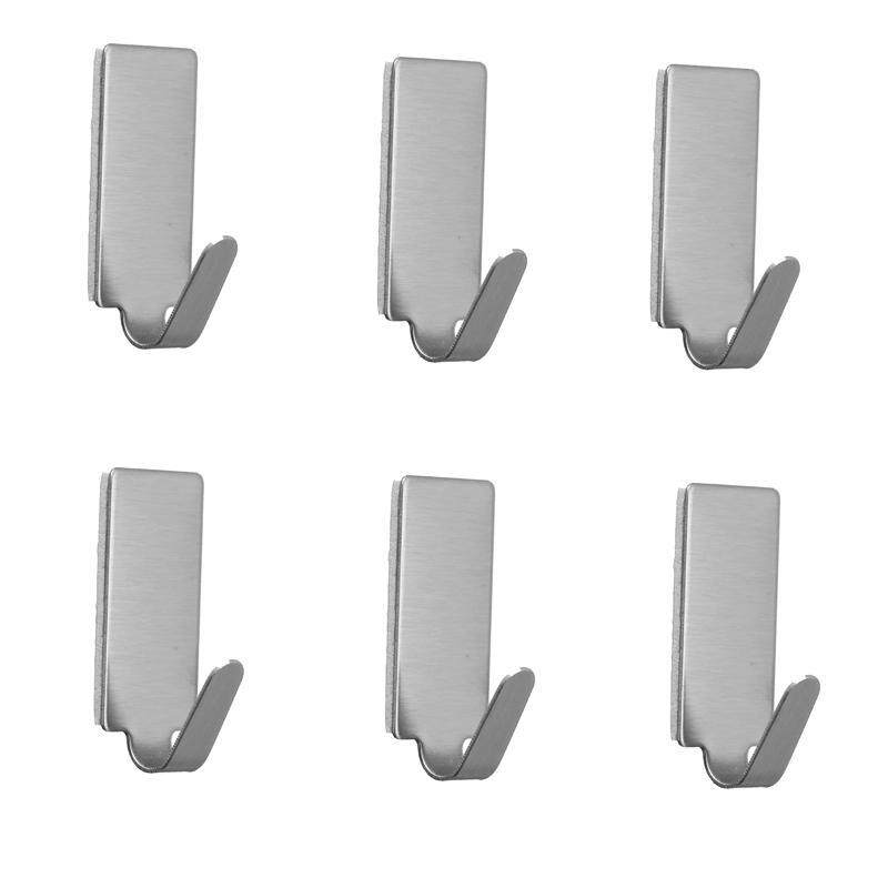 6pcs Adhesive Stainless Steel Towel Hooks Family Robe Hanging Hooks Hats Bag Key Adhesive Wall Hanger for Kitchen Bathroom