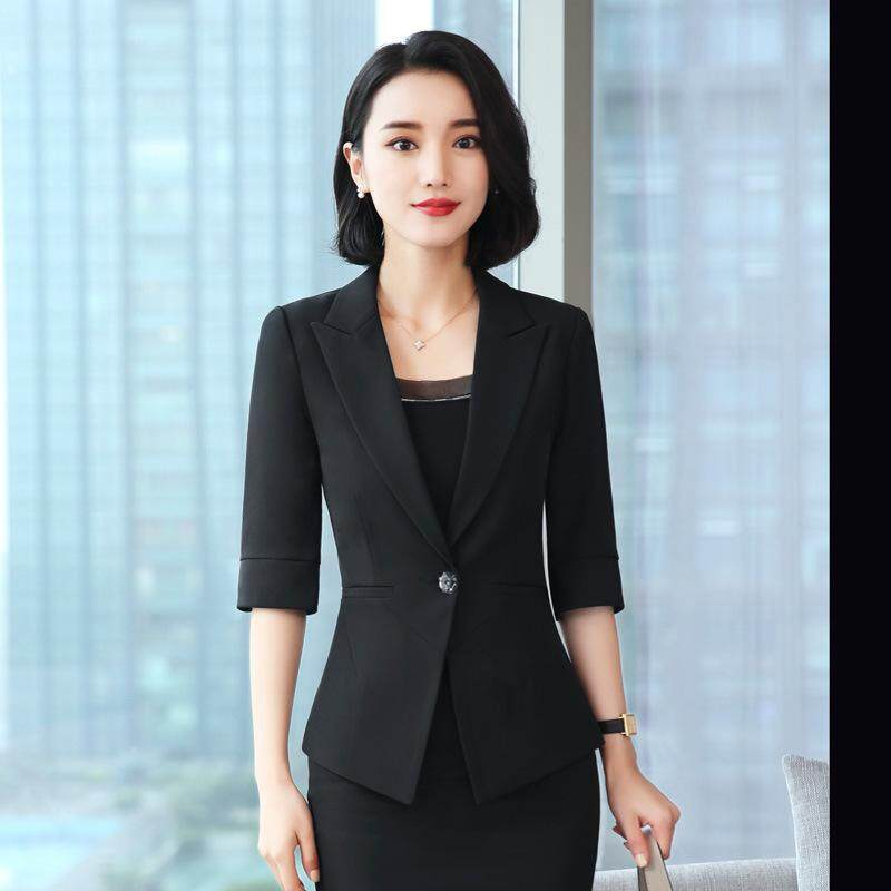 c8c4f58bc Women Summer Half Sleeve Suit Coat Single Breasted Blazer for OL Work Suits  Set
