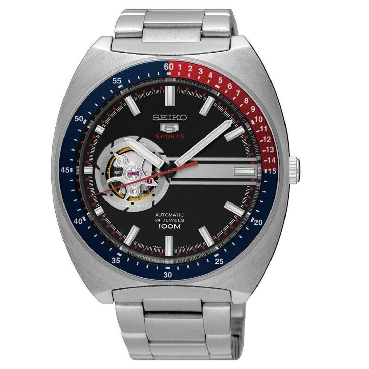 Seiko 5 Sports SSA329K1 Gents Automatic Open Heart Stainless Steel Watch  (Silver ... 64c5802ce5