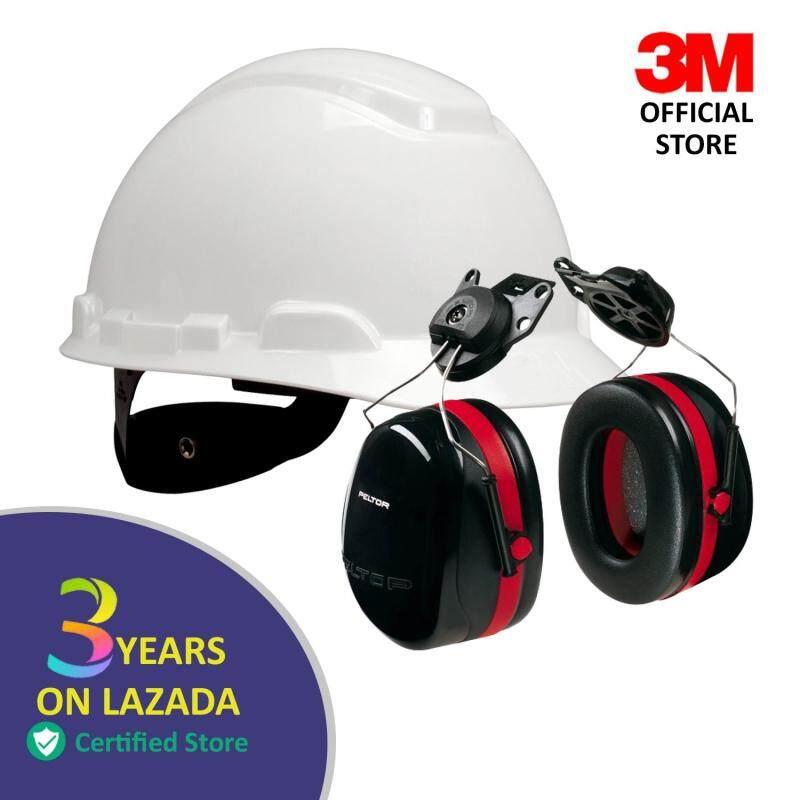 3M™ Hard Hat, White 4-Point Ratchet Suspension H-701R + 3M  Optime™ 105 Cap-Mount Earmuffs H10P3E