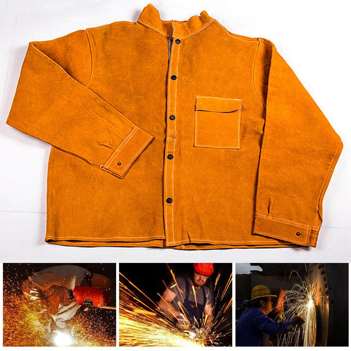 Welders Jacket Cow Leather Apron Protective Clothing Welding Safety Apparel New XL Size