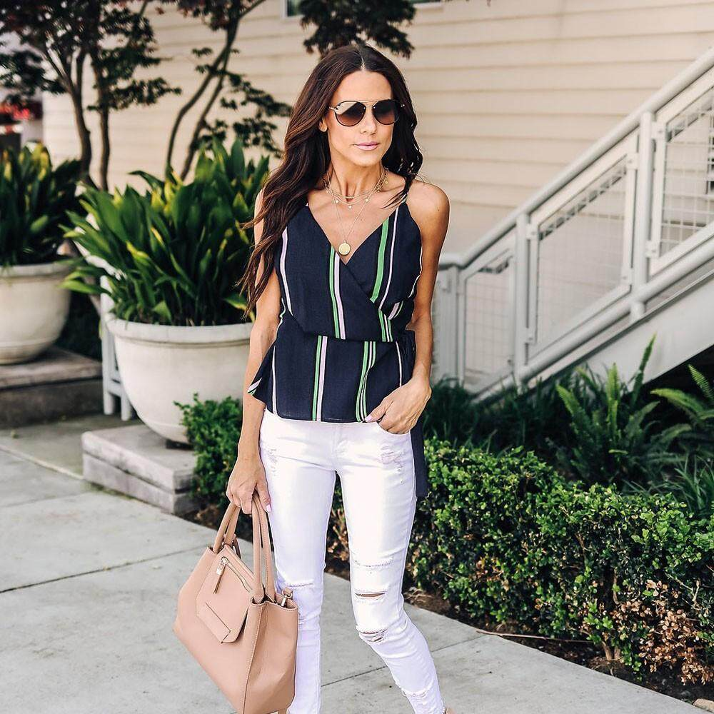 d73421df0f42 Genmoment Women Summer Striped V Neck Tank Waist Tie Vest Tops Blouse Camis