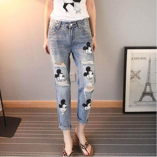 16c6300fd Vintage Destroyed Jeans Mikey Mouse Printing Baggy Ripped Boyfriend Jeans  For Women Distressed Jeans Casual Denim