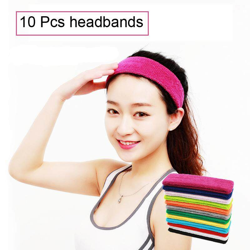 10 Pcs Sports Yoga Gym Stretch Headband Head Bands Hair Band Sweat Sweatband ebec14ad51