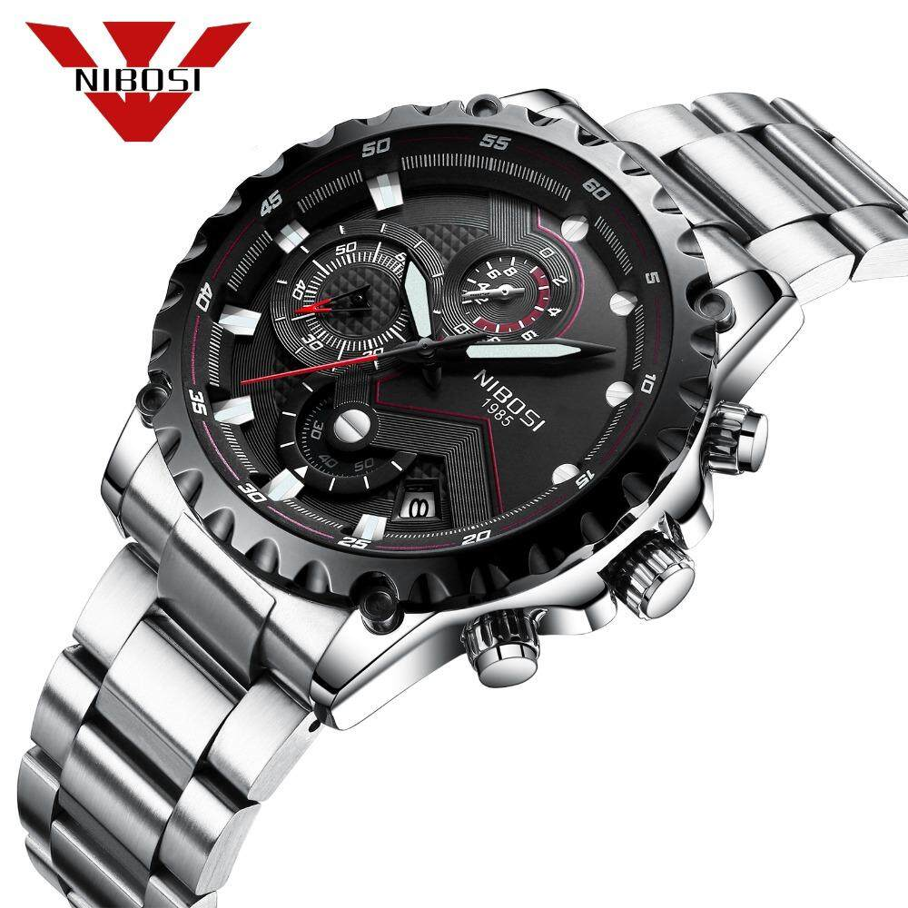 NIBOSI Fashion Style Watches Mens Outdoor Quartz Chronograph Watch Luminous Hand Large Face Dial Sports Wristwatches Malaysia