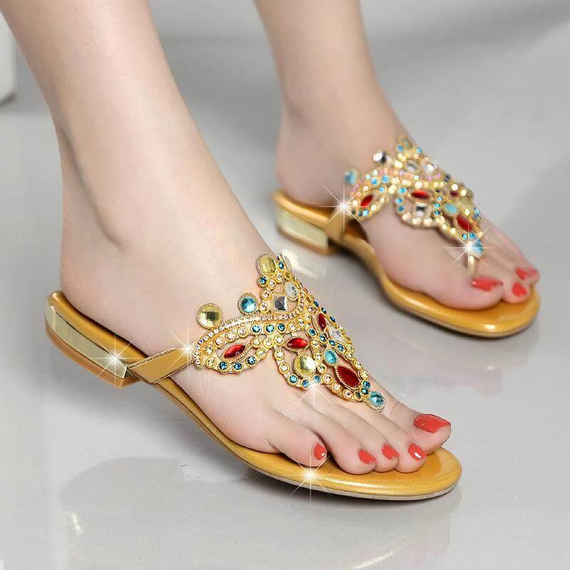 77cdfdd063 Women Fashion Diamond Low Design High Heeled Sandals Lady Luxurious Design  Gold Slipper Shoes
