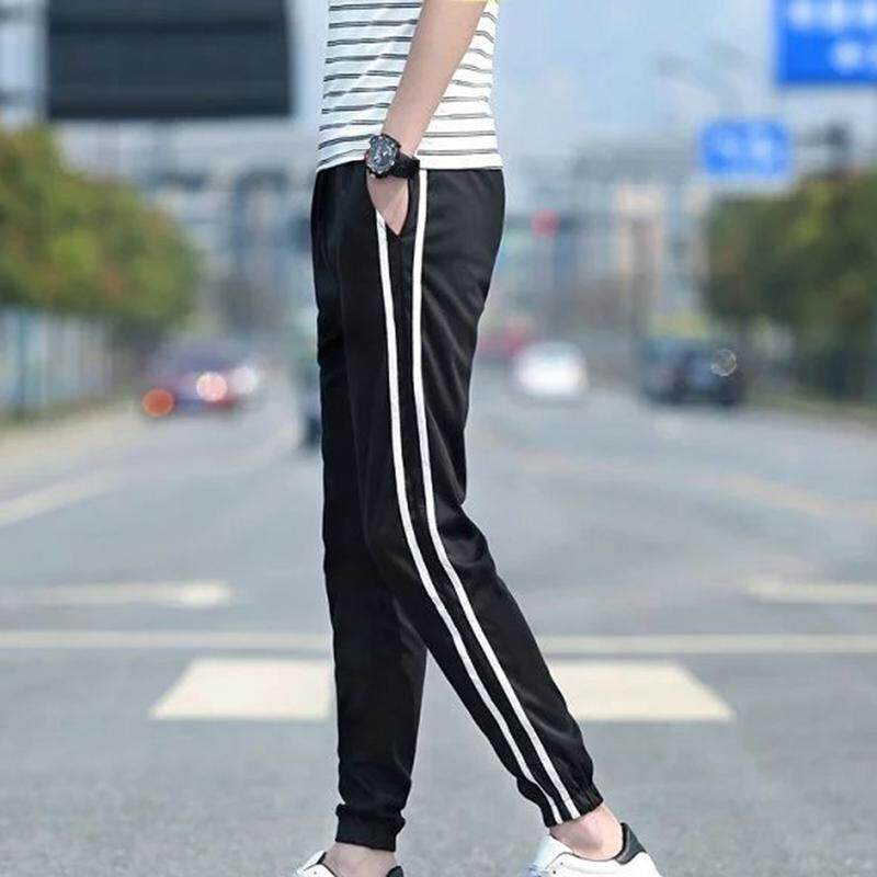 Ishowmall New Arrival Mens Autumn Fashion Side Stripe Sports Pants Casual Long Pants Ninth Pants By Ishowmall.