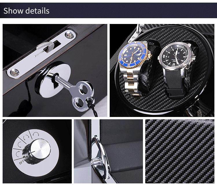 Top quality Luxury Leather Premium Automatic Rotate Watch Winder Wood Glass Display Watch Box 4+6