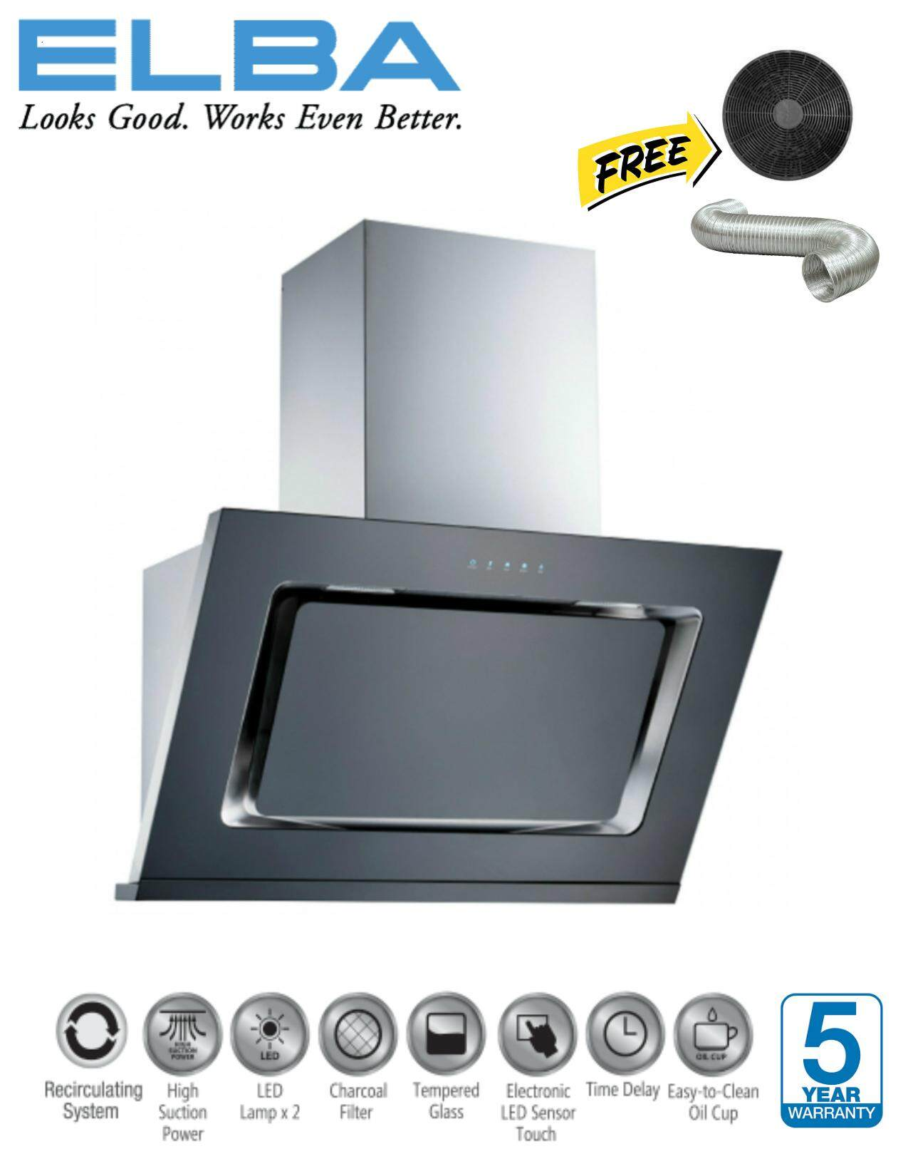 Ready Stock Elba Eh E9122st Bk Kitchen Chimney Hood 1400m3
