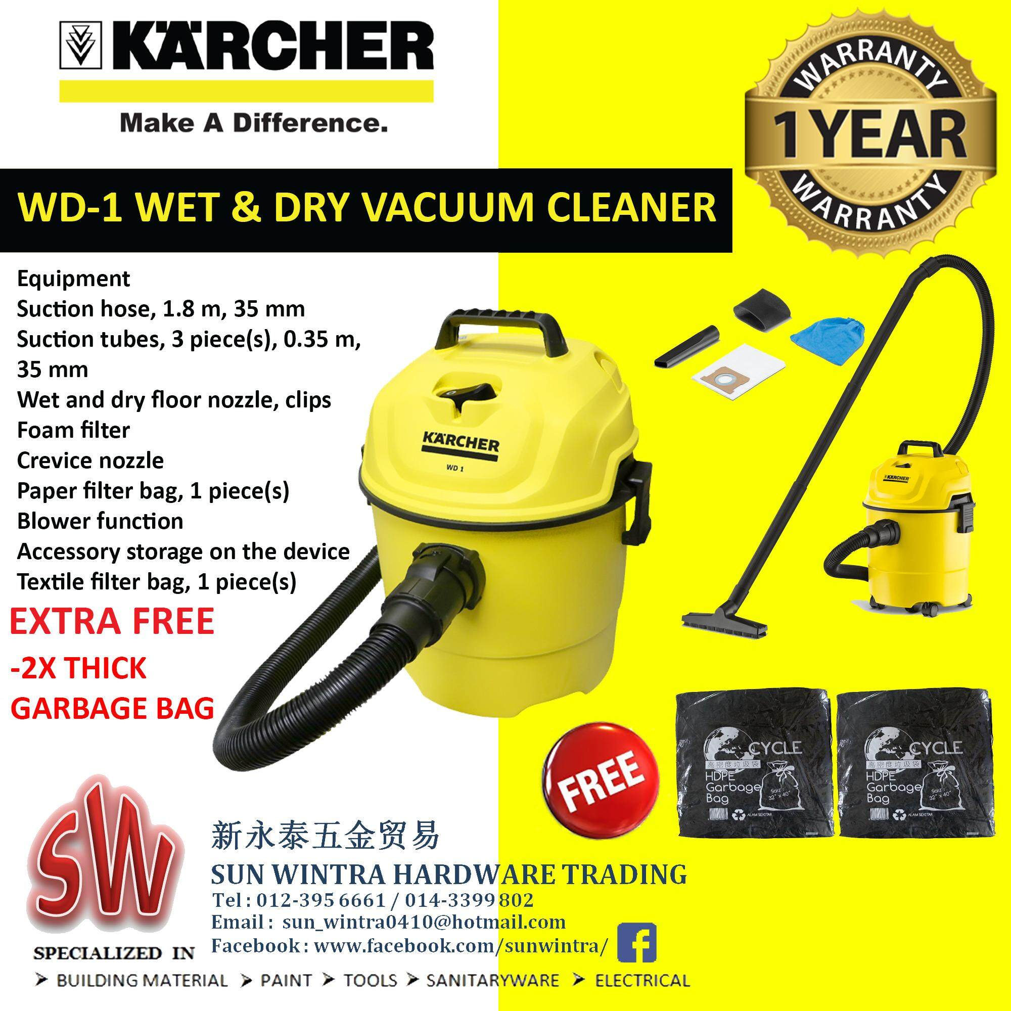 Karcher Vacuum Cleaners Price In Malaysia Best Cleaner Wd 2 Wd1 Wet And Dry 1000w Foc Extra 2x Thick Garbage Bag