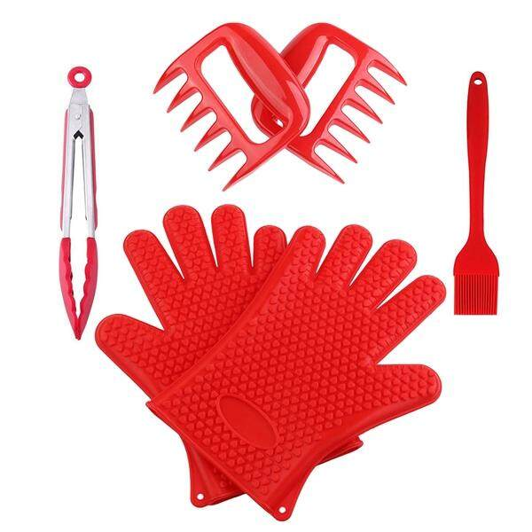 4Pcs BBQ Grill Oven Tool Set Heat Resistant Premium Insulated and Silicone Fiber Gloves Clamps Pulled Meat Machine Set for Cooking Baking Smoking Fireplace Oven Tool Sets (Red))