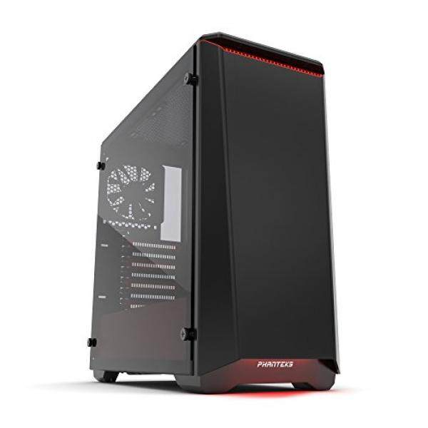 [From.USA]Phanteks PH-EC416PTG_BR Eclipse P400 Steel ATX Mid Tower Case Black/Red, Tempered Glass Edition Cases B01NCNYQDQ Malaysia