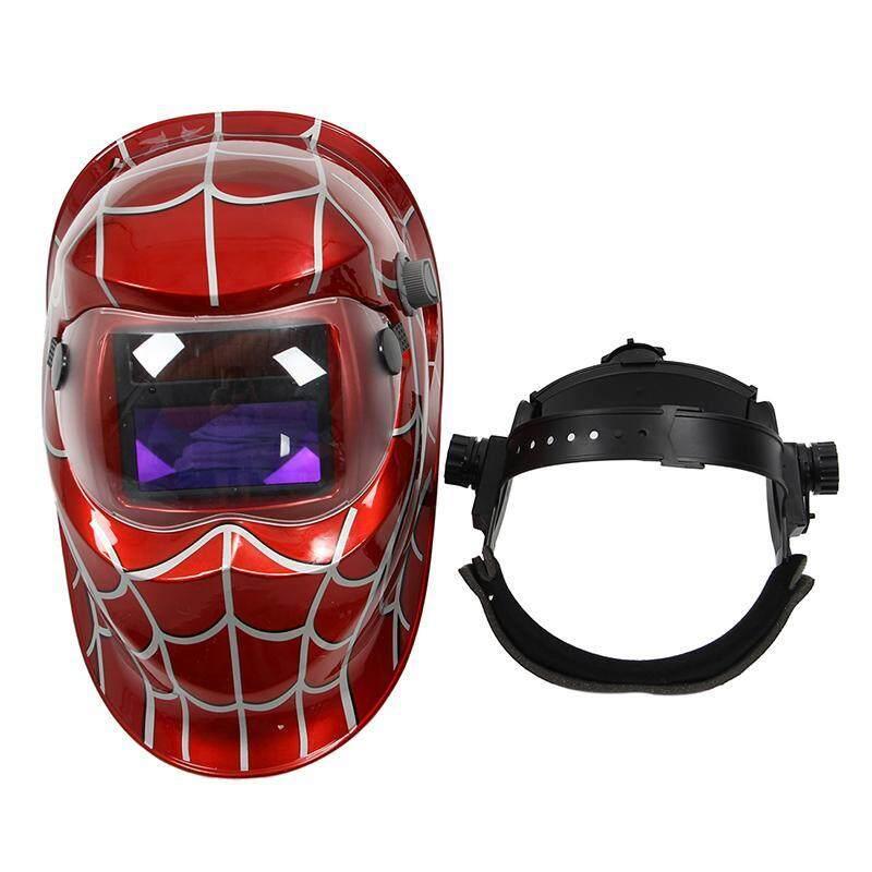 Professional Welder Mask Solar Automatic Darkening Welding Helmet, Red spider