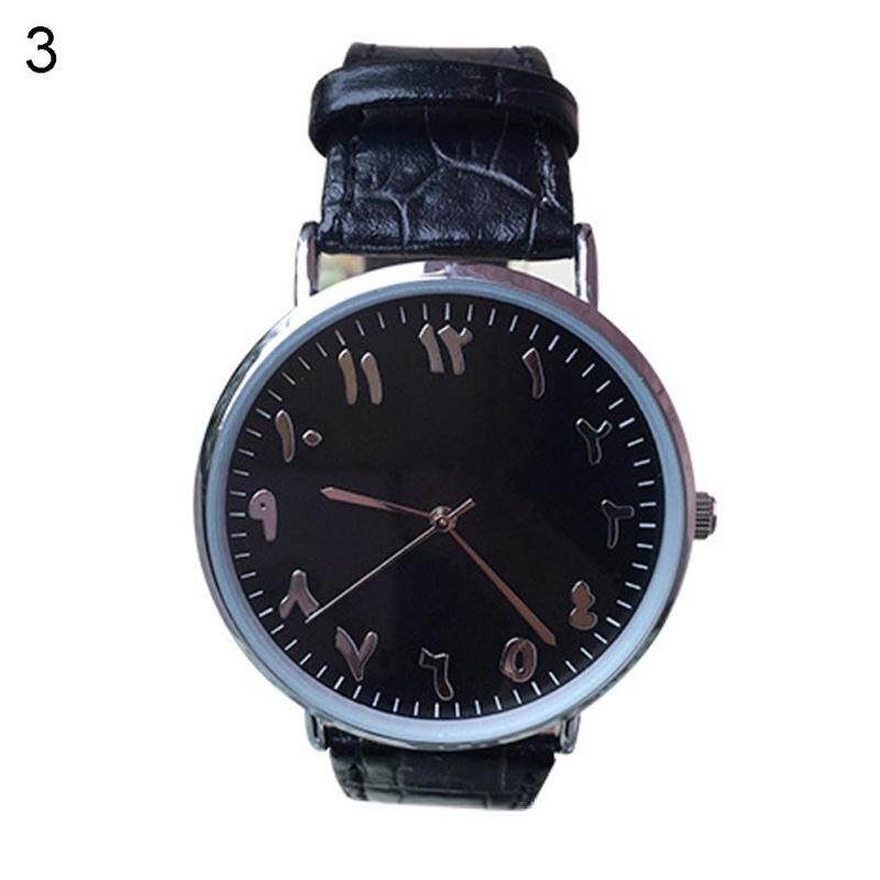 Unisex Arabic Numbers Faux Leather Analog Quartz Wrist Watch Lover Couple Gift (Black) Malaysia