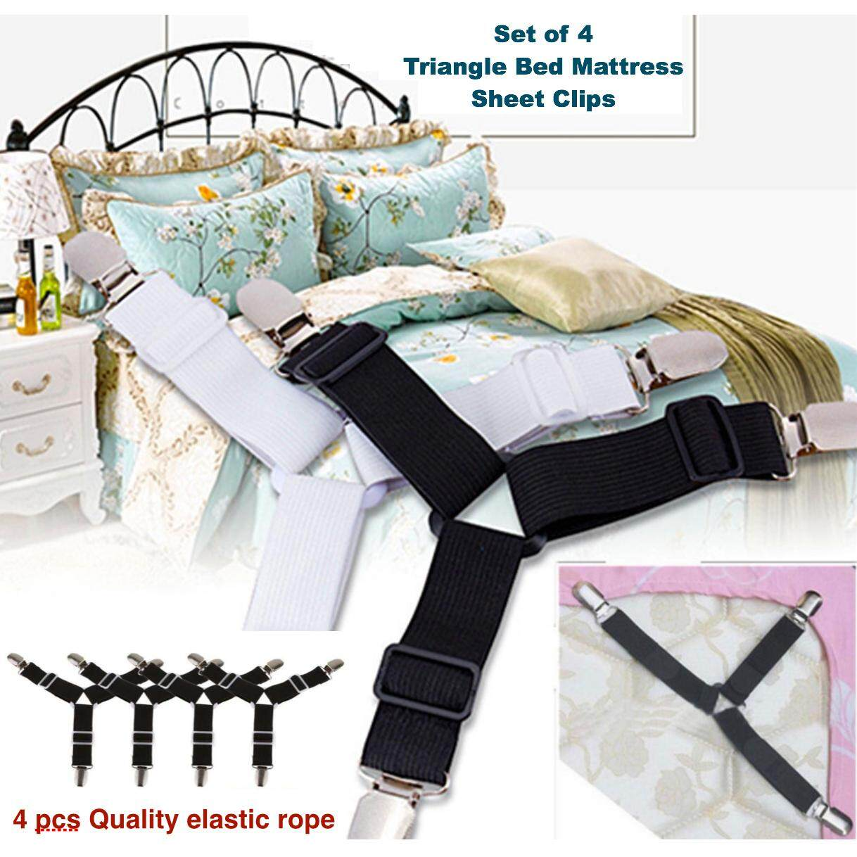 4PCS Triangle Mattress Sheet Clips Grippers Elastic Straps Fasteners  Holders For Bed