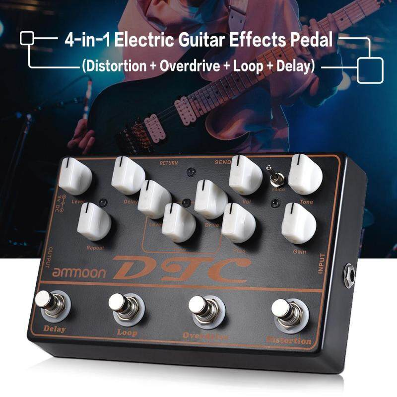 ammoon DTC 4-in-1 Electric Guitar Effects Pedal Distortion + Overdrive + Loop + Delay Malaysia