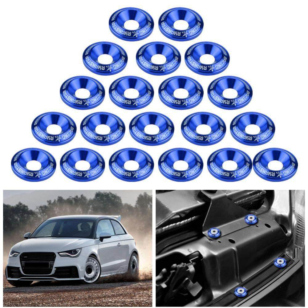 Bumper/fender Washer Bolt Engine Bay Dress Up Kit Aluminum (20pcs Blue) By Qilu.