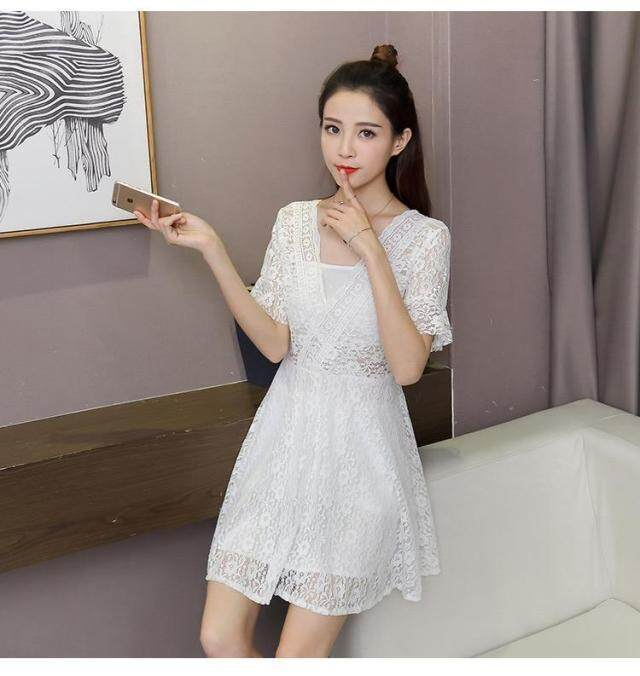 40c8258f8360b UR Korean Style Sexy Woman V-neck Lace Dress MIDI Fashion Causal Flare  Sleeve Dresses Summer
