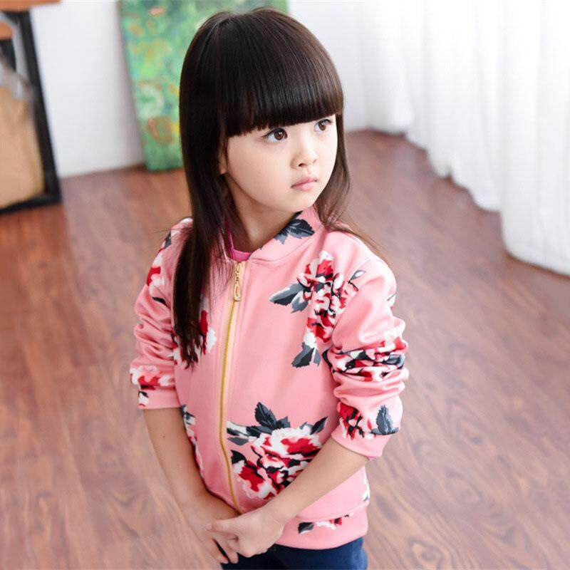 Ishowmall Korean Style Long Sleeve Print Floral Girl Baseball Jacket Coats By Ishowmall.