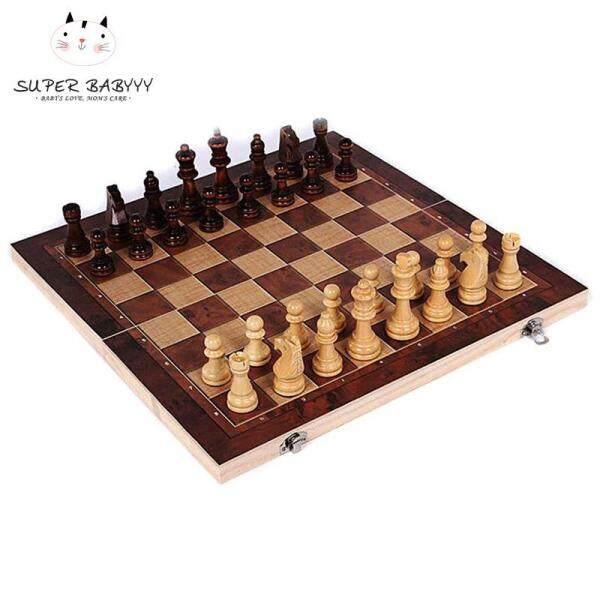 SBY 3 in 1 Wooden Board Game Set Compendium Games Chess Backgammon Draughts