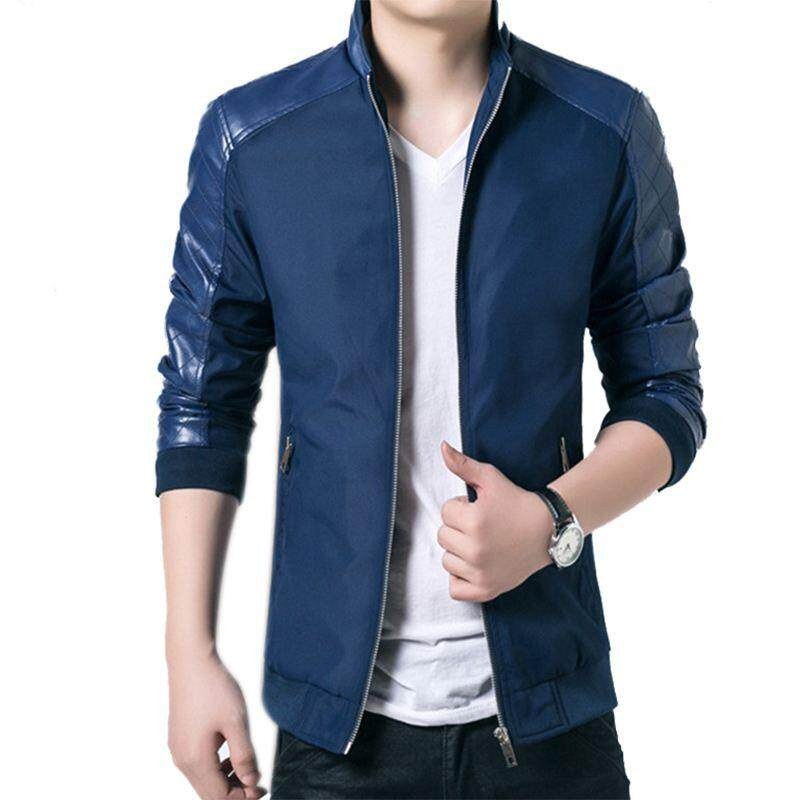 021753026 Spring Autumn New Men s PU Patchwork Jackets Casual Men Thin Long Sleeve  Jackets Solid Slim Male
