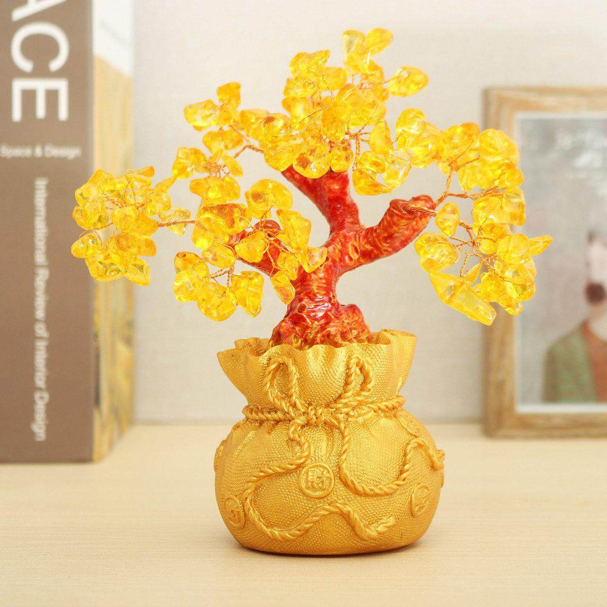 Feng Shui Wealth Lucky Citrine Crystal Gem Money Coins Tree In Money Bag Decor By Sunshineyou.